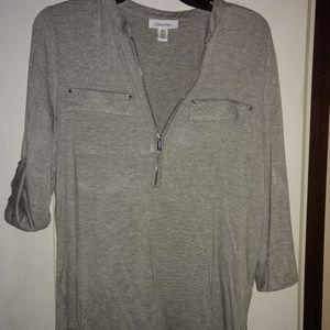 Calvin Klein Silky T-shirt Material Zip Front Top